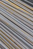 Reinforcing bars with a periodic profile in the packs are stored in the metal products warehouse stock photography