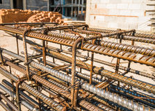 Reinforcing steel bar outdoor. At construction site Royalty Free Stock Photos