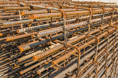 Reinforcing steel bar outdoor. At construction site royalty free stock images