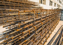 Reinforcing steel bar outdoor. At construction site Stock Photography