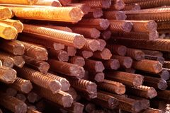 Reinforcing steel bar stack close-up, rebar for concrete construction works piled on top of each other stock photography