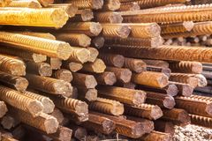 Reinforcing steel bar stack close-up, rebar for concrete construction works piled on top of each other royalty free stock photos