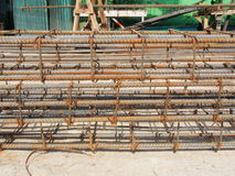 Reinforcing steel bars for building armature in construction site Royalty Free Stock Photos