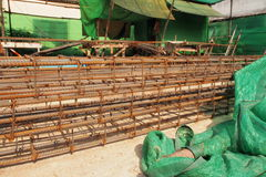 Reinforcing steel bars for building armature in construction site Stock Images