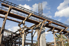 Reinforcing steel bars on supports for building Royalty Free Stock Photos