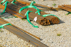 Reinforcing steel rods bars for building construction in Norway Stock Photos