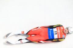 Reinhard Egger - luge. Reinhard Egger from Austria in men's singles luge race held in Altenberg in Germany on 21.2.2015 Royalty Free Stock Images