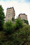 Reinhardstein castle Belgium. The donjon tower of the medievel Reinhardstein fortification and castle near Robertville and Eupen in the German Speaking community Stock Photos