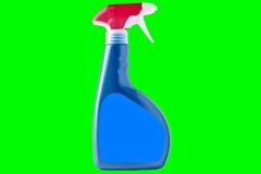 Reinigende Flasche des blauen Sprays mit roten Elementen Lizenzfreies Stockbild