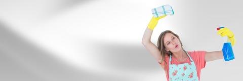 Reinigingsmachine met nevel en doek met heldere achtergrond royalty-vrije stock foto's