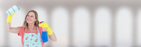 Reinigingsmachine met nevel en doek met heldere achtergrond stock fotografie