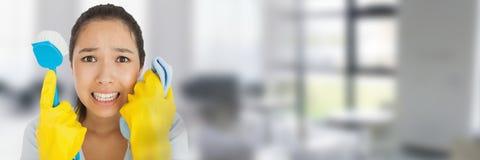Reinigingsmachine met omhoog het wassen van borstel met heldere achtergrond royalty-vrije stock afbeeldingen