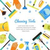 Reinigung bearbeitet Fahne für Haus-Dienstleistungen Vektor lizenzfreie abbildung