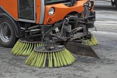 Reinigung der Straßen Stockbild