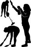 Reinigung der Wohnung Frauenputzfrau Vektor stock abbildung