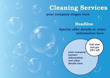 Reinigung hält Flugblatt-Schablone instand lizenzfreie abbildung