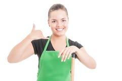 Reinigung hält Konzept mit schönem jungem Mädchen instand lizenzfreie stockfotos