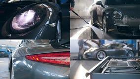 4 in 1: Reinigung teuren Auto-, AutoWaschvorgang karcher und der Seife stock video footage