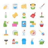 Reinigung und Mädchen Icons lizenzfreie abbildung