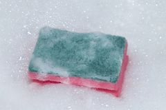 Reinigungs-Auflage oder Reinigungsapparat mit Schaum lizenzfreie stockbilder