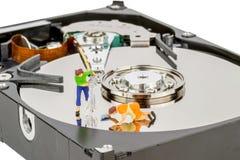 Reinigungs-Computer-Festplattenlaufwerk Stockfotos