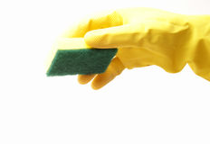 Reinigungs-Handschuh und Schwamm Stockfotos