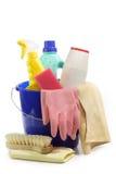 Reinigungs-Hilfsmittel in einer Wanne lizenzfreies stockfoto