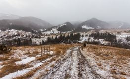 Reinigungs-Schnee-Sturm in Rocky Mountains Stockfoto