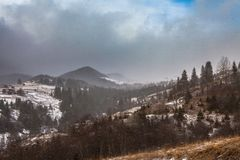 Reinigungs-Schnee-Sturm in Rocky Mountains Stockfotos