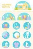 Reinigungs-Service, Reinigungsmittel-und Werkzeug-Illustrationen und Ikonen-Vektor-Satz stock abbildung