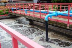 Reinigungsbau für eine Abwasseraufbereitung Stockbilder