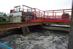 Reinigungsbau für eine Abwasseraufbereitung Stockfotos