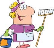 Reinigungsdame-Zeichentrickfilm-Figur Lizenzfreie Stockfotografie