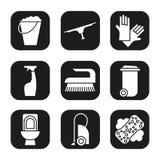 Reinigungseinzelteile und Werkzeugikonen eingestellt Abfalleimer, Eimer, Staubsauger, Spray, Toilette, Bürstengummihandschuhe Vek vektor abbildung