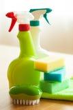 Reinigungseinzelteilhaushaltsspraybürsten-Schwammhandschuh Lizenzfreies Stockbild