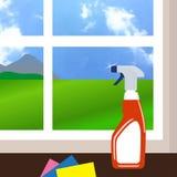 Reinigungsfenster und Reinigerreinigungsmittel in der Plastikflasche mit spr Lizenzfreie Stockfotos