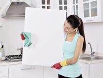 Reinigungsfrauenzeichen stockbild