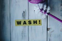 Reinigungshaus- oder -bürokonzept Stockfoto