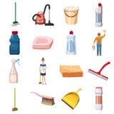 Reinigungsikonen stellten Reinigungsmittel, Karikaturart ein lizenzfreie abbildung