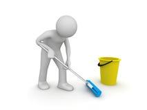 Reinigungsmittel bei der Arbeit Stockfoto