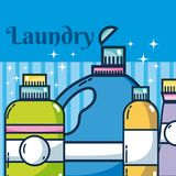 Reinigungsmittel füllt Wäscherei ab stock abbildung