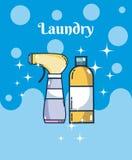 Reinigungsmittel füllt Wäschereikonzept ab lizenzfreie abbildung