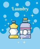 Reinigungsmittel füllt Wäschereikonzept ab stock abbildung