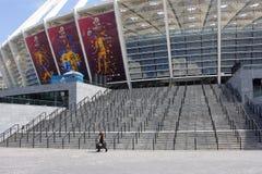 Reinigungsmittel am Kiew-Stadion zurzeit von EURO 2012 Stockfotografie
