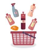 Reinigungsmittel und ein Schwamm für Reinigungshaus, Büro, Restaurant, Hotel fallen in den roten Korb lizenzfreie abbildung