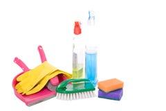 Reinigungsmittelset Stockbilder