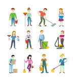 Reinigungspersonal Man und Frauen-Charakter Stockfotografie