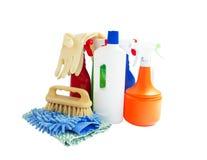 Reinigungsprodukte lokalisiert auf Weiß Stockbilder