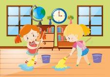 Reinigungsraum mit zwei Mädchen Stockbild
