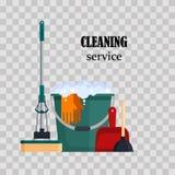Reinigungsservice Bunte Satzhaus-Reinigungswerkzeuge mit Eimer, Mopp, Handschuhmacher, Schaufel, Toilettenkolben auf transparente Stockbilder
